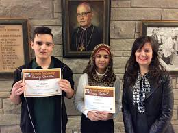 students win top honours in knights of columbus essay writing contest grade 9 and 10 winners from bishop ryan fiza warriach and nelson farias