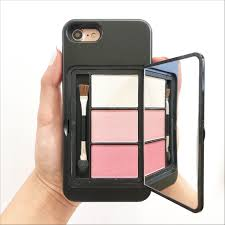 perfect for make up this special phone case has a hidden make up palette brush and mirror on the back of the phone case palette conns 3 bright