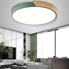 Bedroom Ceiling Lights Nordic Wood Led Ceiling Lights Modern Colorful Bedroom Ceiling Lamps Round Thin Plafondlamp Lighting Lamparas De Techo 30cm 40cm