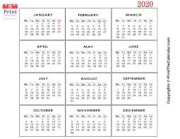 Free 2020 Monthly Calendar Template Free Printable 2020 Calendar Templates