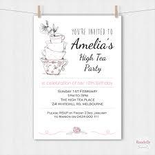 Tea Invitations Printable High Tea Birthday Party Invitation Teacups Printable Custom