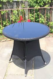 inspiring round glass patio table from patio resin outdoor wicker 31 5 inches round dining table