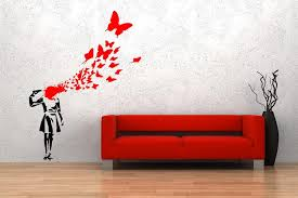 banksy butterfly girl graffiti wall decal sticker by decaldent  on banksy wall art sticker with banksy butterfly suicide girl wall sticker 60cm x 80cm small sku