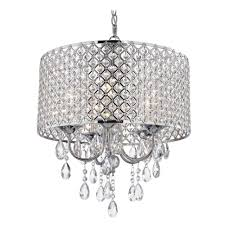 portfolio beaded ceiling light crystal chrome chandelier pendant with drum shade