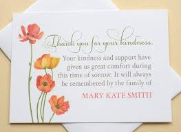 Thank You Sympathy Cards Watercolor Poppy Flowers Thank You Note Bereavement Personalized Flat Cards 4 7 8 X 3 1 2