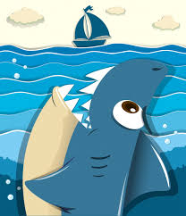 Free Vector | <b>Angry shark</b> aiming for sailboat