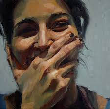from a distance it looks photographic minicuadro david fernandez saez contemporary artist female woman smile portrait painting giddy