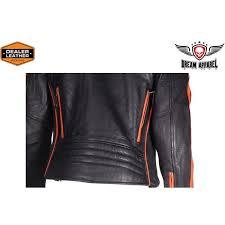 mens racing leather motorcycle jacket with orange stripe