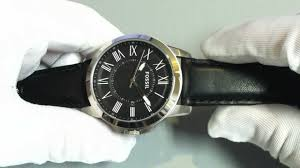 men s black fossil grant leather strap watch fs4745