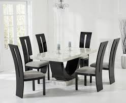 raphael 170cm cream and black pedestal marble dining table glass dining room table 6 chairs
