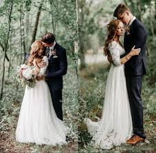 boho dresses wedding. Discount 2018 Boho Lace Wedding Dresses Long Sleeves Modest Country