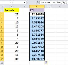 Weight Conversion Kg To Lbs Chart How To Quickly Convert Pounds To Ounces Grams Kg In Excel