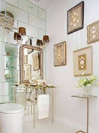 Framed Art Bathroom Art Deco Bathroom With Glass Vessel Sink And Mirror And Sconces