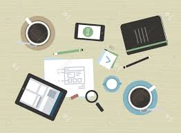 designer office desk isolated objects top view. Office Objects Isolated On Beige Desk Texture Background. Flat Design Vector Illustration Concept Of Modern Business Meeting Coffee Break With Digital Designer Top View ,