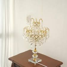 top round crystal chandelier bedroom nightstand table lamp 3 light with regard to crystal chandelier table