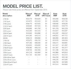 Price List Template Car Model Word Free Salon Lis – Goeventz.co