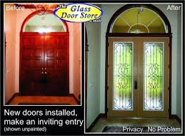 Wooden Front Doors Glass Inserts White Framed Exposed Brick Walls