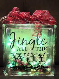 Glass Present Box Lights Christmas Block Jingle All The Way Lighted Glass Night