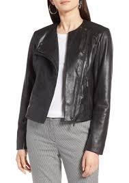 halogen collarless leather jacket regular petite