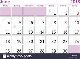 Simple Digital Calendar For June 2018 Vector Printable Calendar