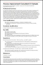 Process Improvement Consultant CV Sample