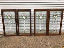 leaded glass cabinet doors. 2 of 4 beautiful antique stained leaded glass cabinet doors / window 42
