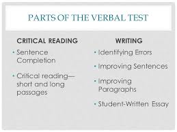 sat prep strategies parts of the verbal test critical reading  2 parts of the verbal test critical reading sentence completion critical reading short and long passages writing identifying errors improving sentences