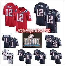 Jerseys 12 Brady Tom Julian Americano Nuevo Compre Liii A Sony Gronkowski 2019 Patriots Rob Jersey Bowl Super White F��tbol 16 Edelman 35 James Michel