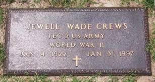 CREWS (VETERAN WWII), JEWELL WADE - Marion County, Arkansas | JEWELL WADE  CREWS (VETERAN WWII) - Arkansas Gravestone