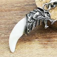 whole men antique silver tribal stark wolf fang tooth pendant necklace vintage wolf tooth dragon alloy pendant necklace zmpj180 c4 black pendant