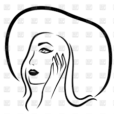 Fashion Girl In The Wide Brimmed Hat Outline Stock Vector Image