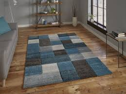 brooklyn contemporary rug with square pattern design in blue grey