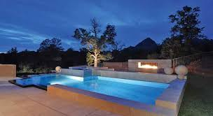 home swimming pools at night. Modern Geometric Pool Lighting Color Night Shot - HydroScapes AZ Home Swimming Pools At