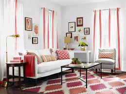 cute simple living room ideas cream stone wall red painted wall