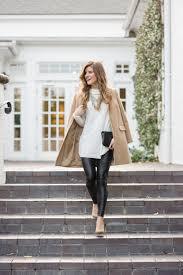 winter date night outfit cream turtleneck camel top coat