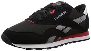 reebok shoes black and red. reebok men\u0027s classic nylon running shoes, black / grey red white (black shoes and a