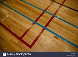 lines on a hardwood gym floor