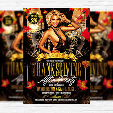 Thanksgiving After Party Premium Flyer Template Facebook Cover