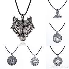 whole norse viking amulet necklace ancient silver wolf head bear paw tree of life war horse pendant leather rope chain for men s jewelry gold necklace