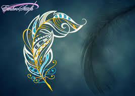 Embroidery Feather Designs Openwork Feather Embroidery Design 3 Sizes