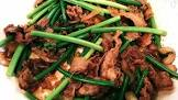 beef   garlic scapes stir fry