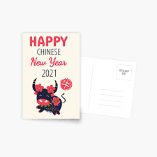 Happy chinese new year with year of the ox 2021 and hanging lantern. Happy Chinese New Year Of The Cute Ox 2021 Greeting Card By Lulupainting Redbubble