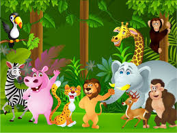 jungle wallpaper cartoon. Delighful Wallpaper Of The Jungle Cartoon Childrenu0027s Wall Mural  Ohpopsi Wallpaper Zoo  Animals For