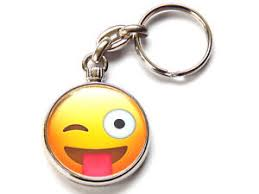Emoji Face Tongue Out Wink Emoticon Quality Chrome Keyring Picture