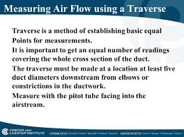Duct Traverse Chart Airflow Properties Measurement Ppt Video Online Download