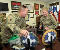 36th infantry division general presents texas army national guard general gifts from afghanistan