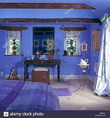 Small Cottage Bedrooms Vintage French Metal Washstand In Bright Blue Cottage Bedroom With
