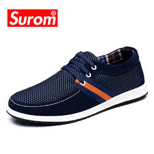 SUROM Men's Leather Casual Shoes Luxury Brand Spring <b>Autumn</b> ...