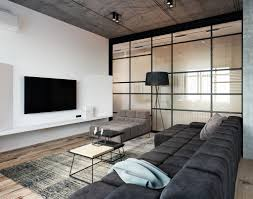Loft Low Couch Hanging Tv Wall Glass
