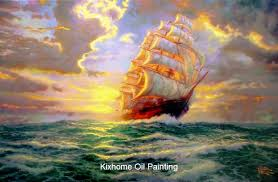 famous landscape wall arts and crafts wall art high quality thomas kinkade courageous voyage oil paintings for hotel bistros in painting calligraphy from